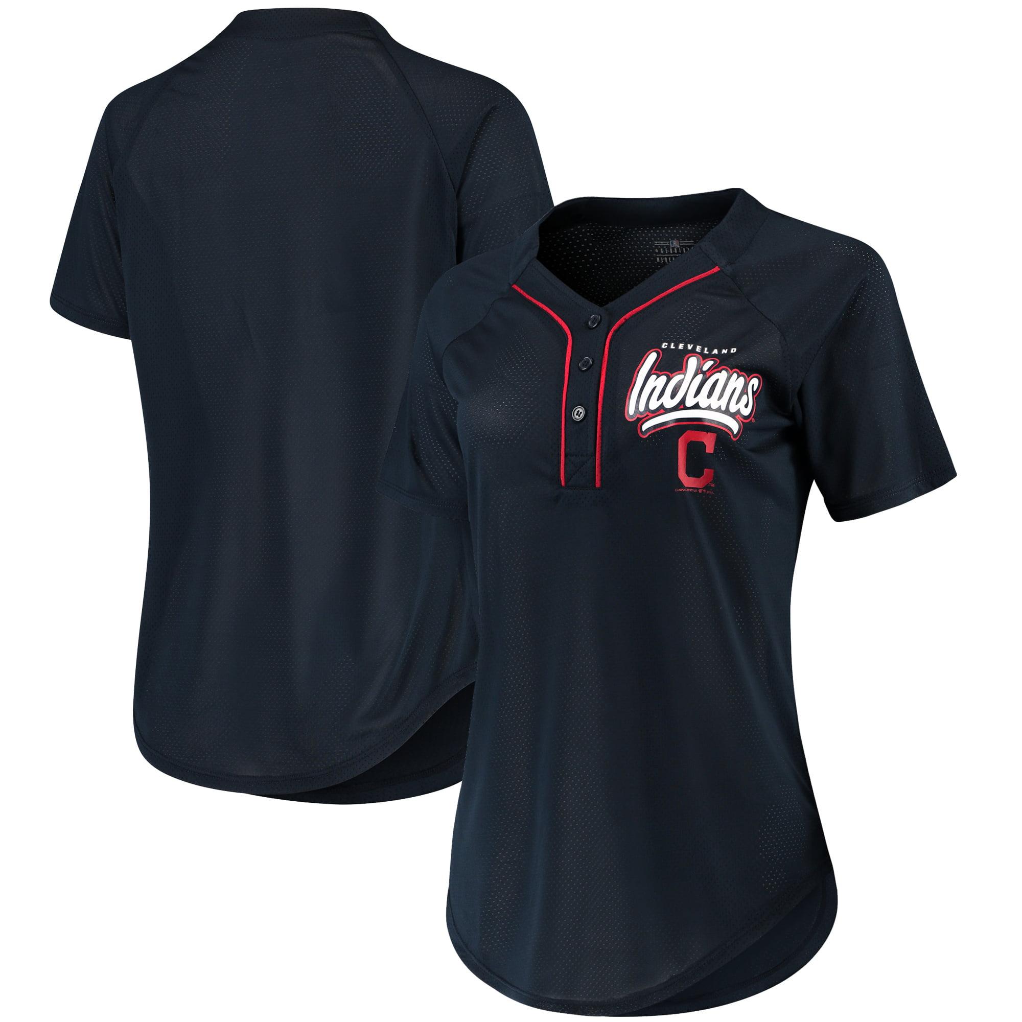 Women's New Era Navy Cleveland Indians Henley Mesh Jersey T-Shirt