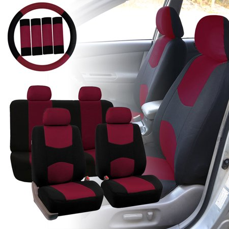 FH Group Car Seat Covers Flat Cloth for Sedan, SUV, Van, Full Set w/ Steering Cover & Belt Pads, Burgundy