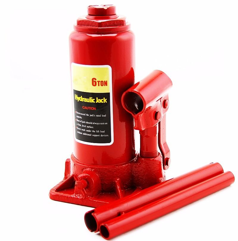 """GHP 8""""-13.5"""" Lift Height Steel 6-Ton Capacity Hydraulic Bottle Jack with 2 Handles"""