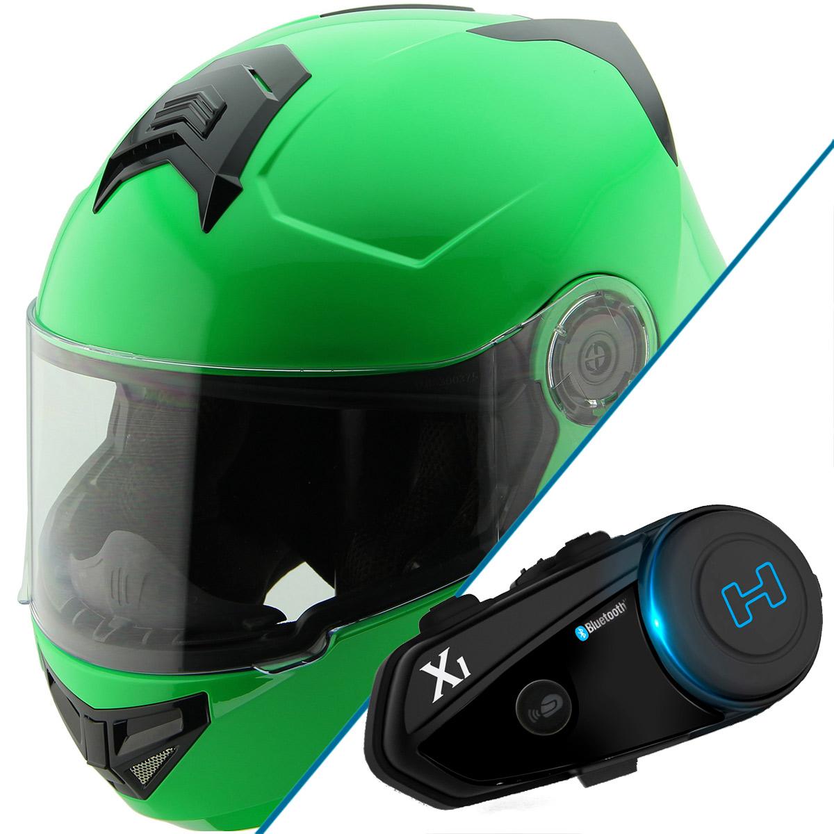 Hawk H-70 Solid Neon Green Modular Motorcycle Helmet with Black X1 Bluetooth He