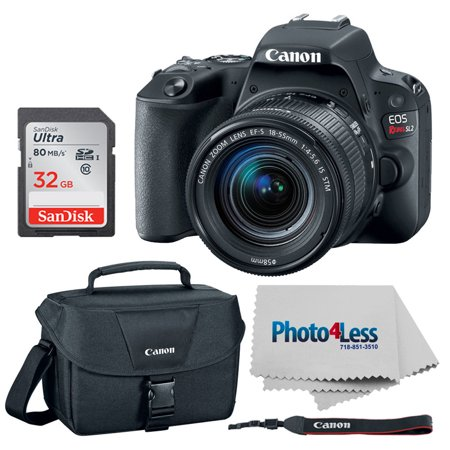 canon eos rebel sl2 dslr camera + canon ef-s 18-55mm f/4-5.6 is stm lens + canon 100es shoulder bag + 64gb memory card + photo4less cleaning cloth  top value camera