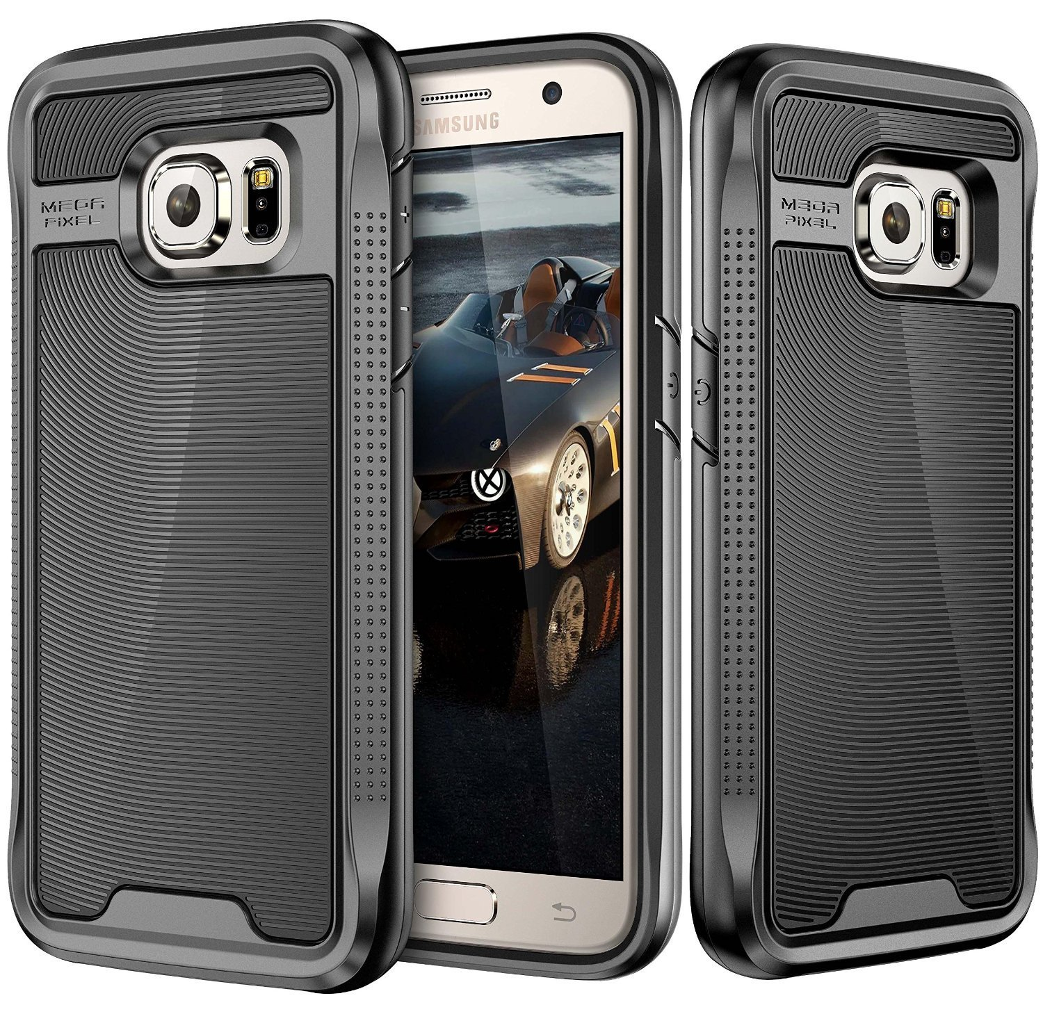 Galaxy S7 Case, E LV Galaxy S7 - Hybrid [Scratch/Dust Proof] Armor Defender Slim Shock-Absorption Bumper Case for Samsung Galaxy S7 - [BLACK/ROSE GOLD]