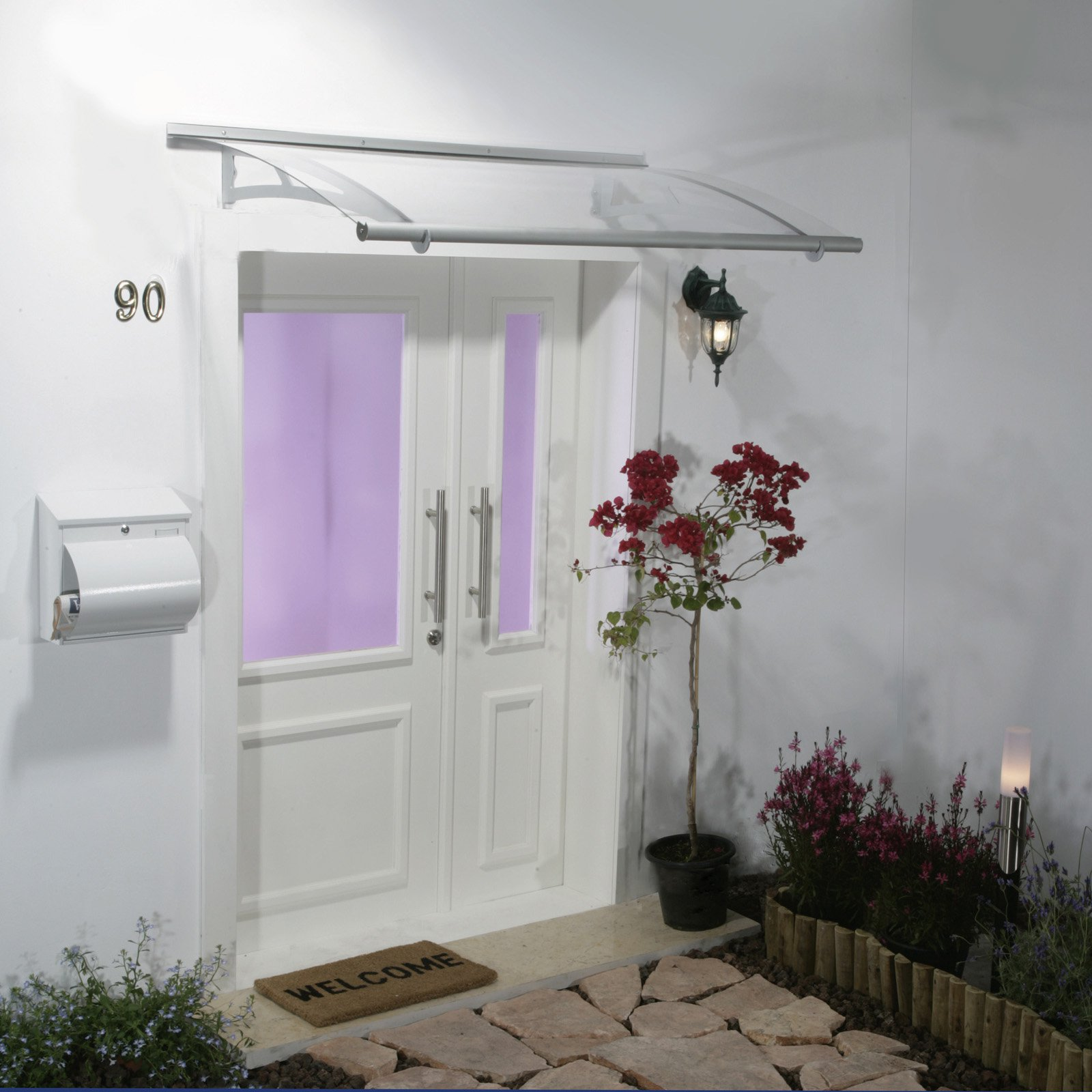"""Palram Aquila 59"""" x 36"""" Door Awning Polycarbonate, Clear"""