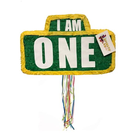 APINATA4U I AM ONE Green & Yellow Sign Pinata for First Birthday Pull Strings - Sam I Am Sign