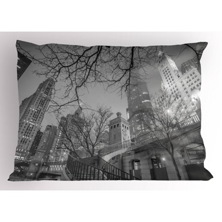Black and White Pillow Sham Chicago City Downtown Nighttime Highrise Buildings Tree Branches, Decorative Standard King Size Printed Pillowcase, 36 X 20 Inches, Grey Black White, by Ambesonne