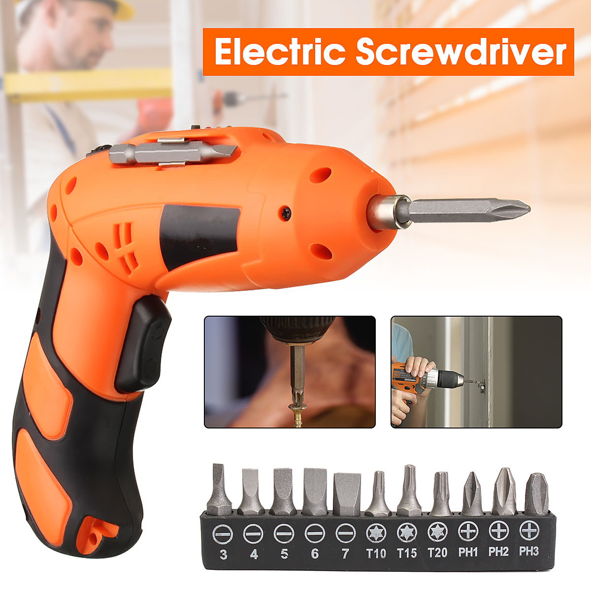 Electric Screwdriver Mini Chargeable Electric Cordless Screwdriver +Drill Shank Star Hex Screwdriver Bit set +Magnetic Bit Holder