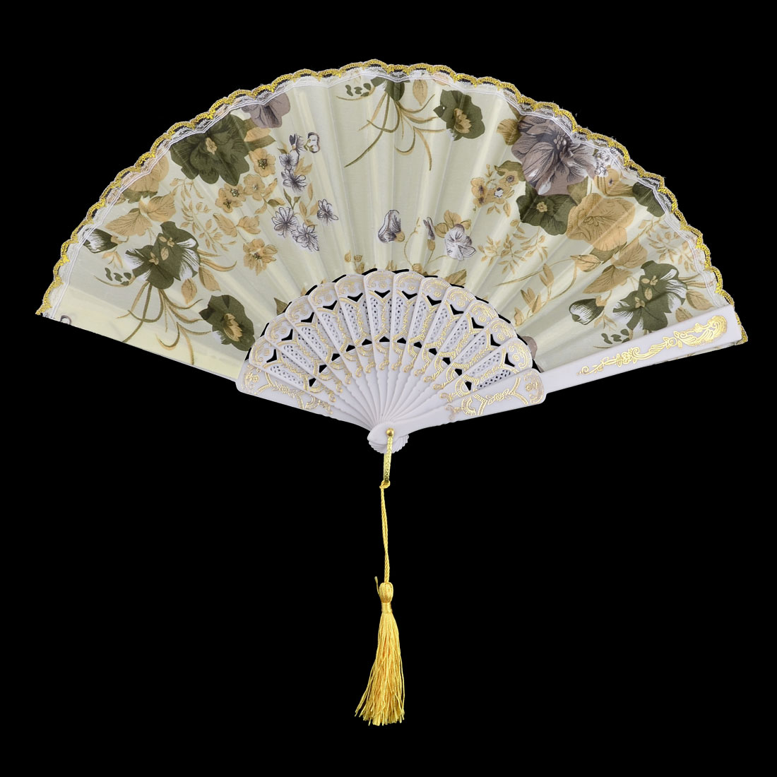 Household Wedding Plastic Flower Pattern Folding Cooling Hand Fan 23.5cm Length - image 3 of 5