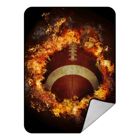 GCKG Spirit of Flaming American Football Fleece Blanket Crystal Velvet Front and Lambswool Sherpa Fleece Back Throw Blanket 58x80inches ()