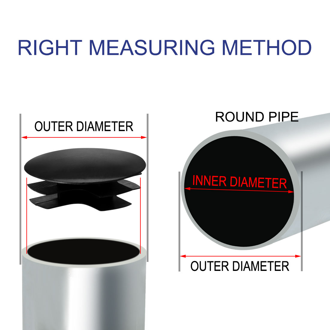 """38mm OD Plastic Round Tube Inserts Black Protector, 1.38""""-1.46"""" Inner Dia 11pcs - image 2 of 7"""