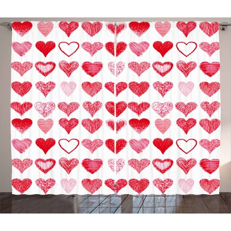 - Valentines Day Curtains 2 Panels Set, Hearts Collection Symbols of Love Hand Drawn Style Romantic Art, Window Drapes for Living Room Bedroom, 108W X 96L Inches, Vermilion Pink White, by Ambesonne