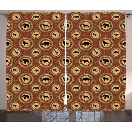 Safari Decor Curtains 2 Panels Set, African Ethnic Medallion Pattern Background With Monkey Giraffe Elephant Lion Rhino, Living Room Bedroom Accessories, Gift Ideas, By Ambesonne - Safari Ideas