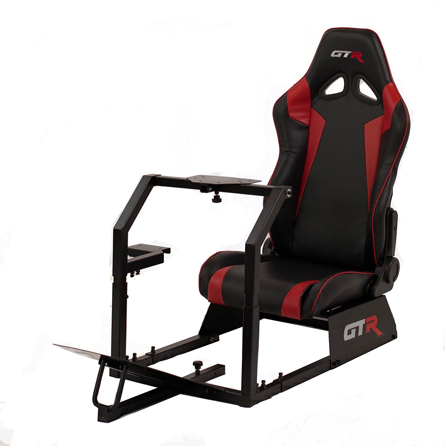 GTR Racing Simulator GTA-BLK-S105LBLKRD GTA 2017 Model Black Frame with Black/Red Real Racing Seat, Driving Simulator Cockpit Gaming Chair with Gear Shifter Mount