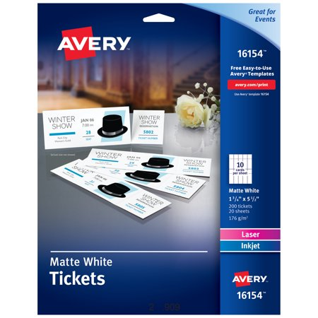 "Avery Perforated Raffle Tickets, 1-3/4"" x 5-1/2"", 200 Tickets"