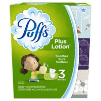 Puffs Plus Lotion Facial Tissues, 3 Family Boxes, 124 Tissues