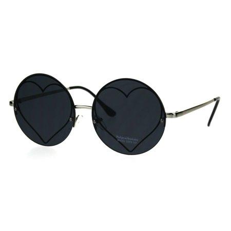 Hippie Heart Shape Circle Round Lens Retro Sunglasses (Red Circle Sunglasses)
