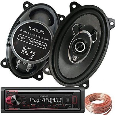 "Kenwood KDC-168U Car Receiver + Pair K7 K-46.3S 4x6"" 180W 3-WAY Speakers + Wire"