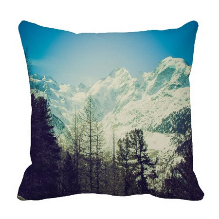 PHFZK Swiss Alpine Alp Nature Landscape Pillow Case, Snow Mountain and Tree Pillowcase Throw Pillow Cushion Cover Two Sides Size 18x18 inches