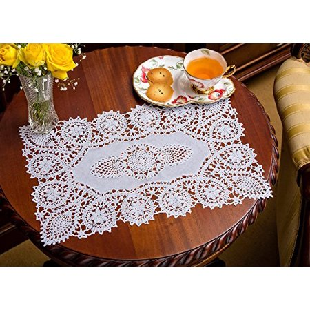 Crochet Placemats,Vinyl Crochet, Reusable Doilies, White, Set of 8, 12 X 18 Inches - Crocheted Doilies