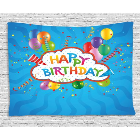Birthday Decorations Tapestry, Wavy Blue Backdrop with Greeting Text Party Hats Confetti Best Wishes, Wall Hanging for Bedroom Living Room Dorm Decor, 80W X 60L Inches, Multicolor, by