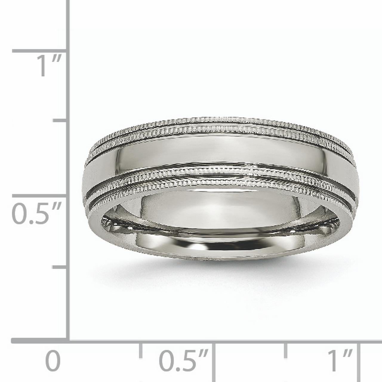 Titanium Grooved and Beaded Edge 6mm Polished Band Ring 8 Size - image 4 de 6