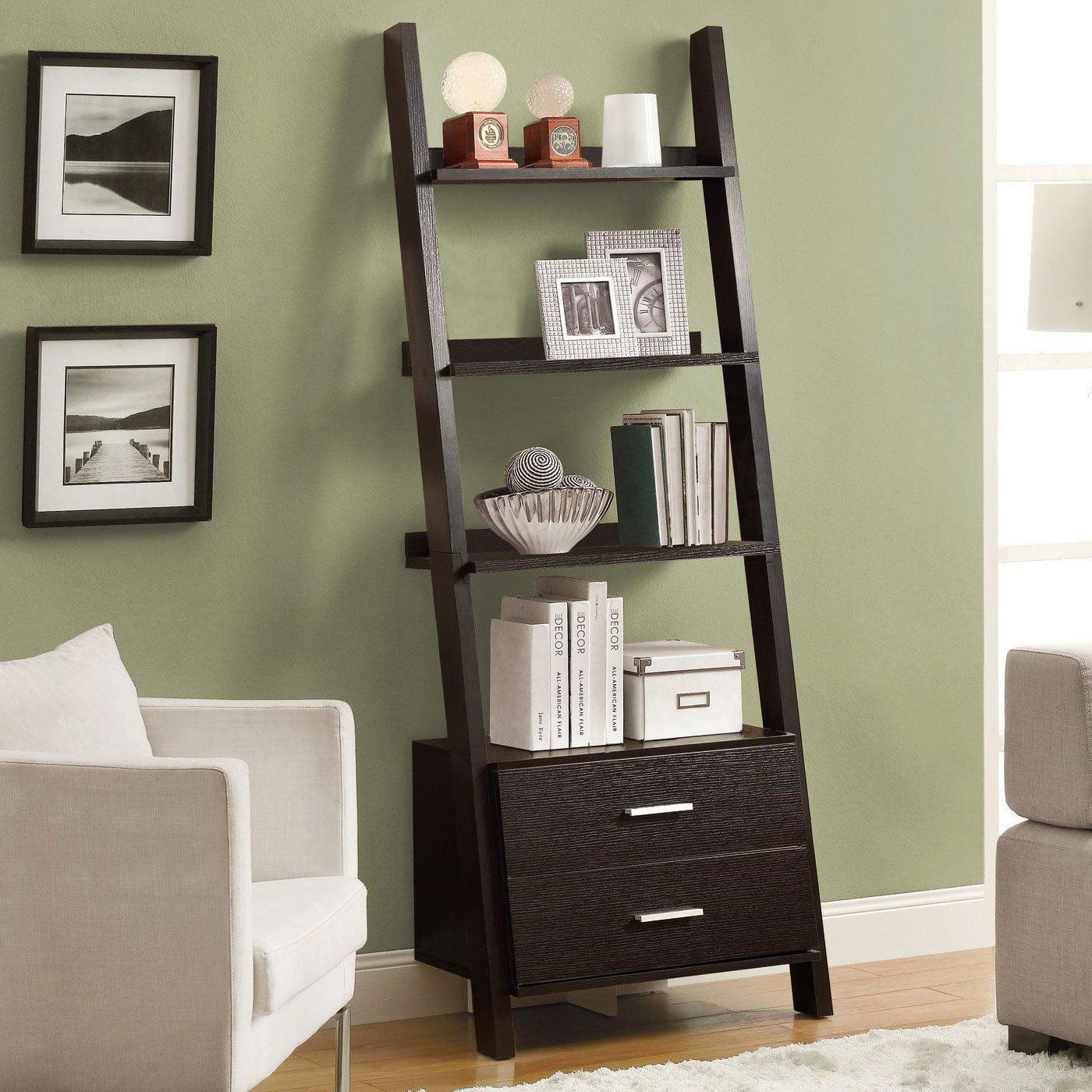 Monarch 4 Shelf Ladder Bookcase W 2 Storage Drawers Cappuccino Walmart Com Walmart Com