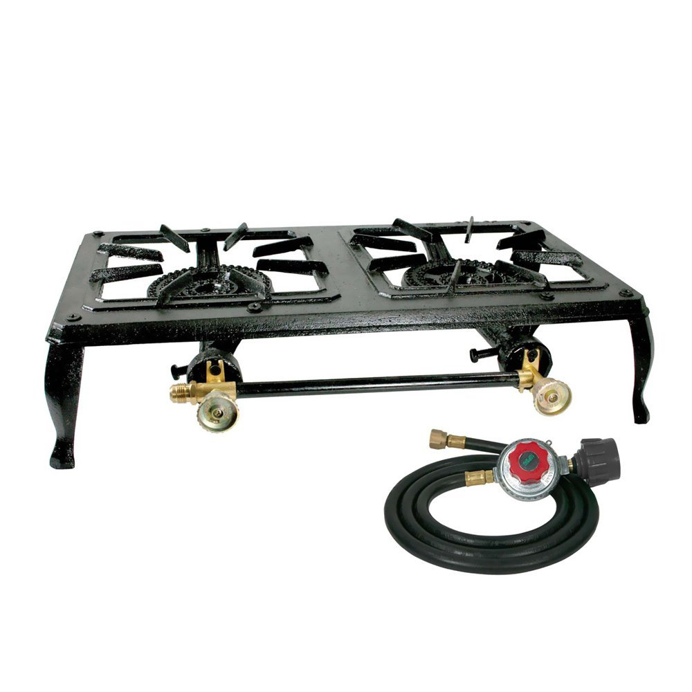Sportsman Series DBCISKIT Double Burner Cast Iron Stove with Regulator Hose