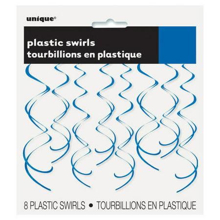 "26"" Plastic Hanging Swirl Royal Blue Decorations, 8ct - image 1 of 2"