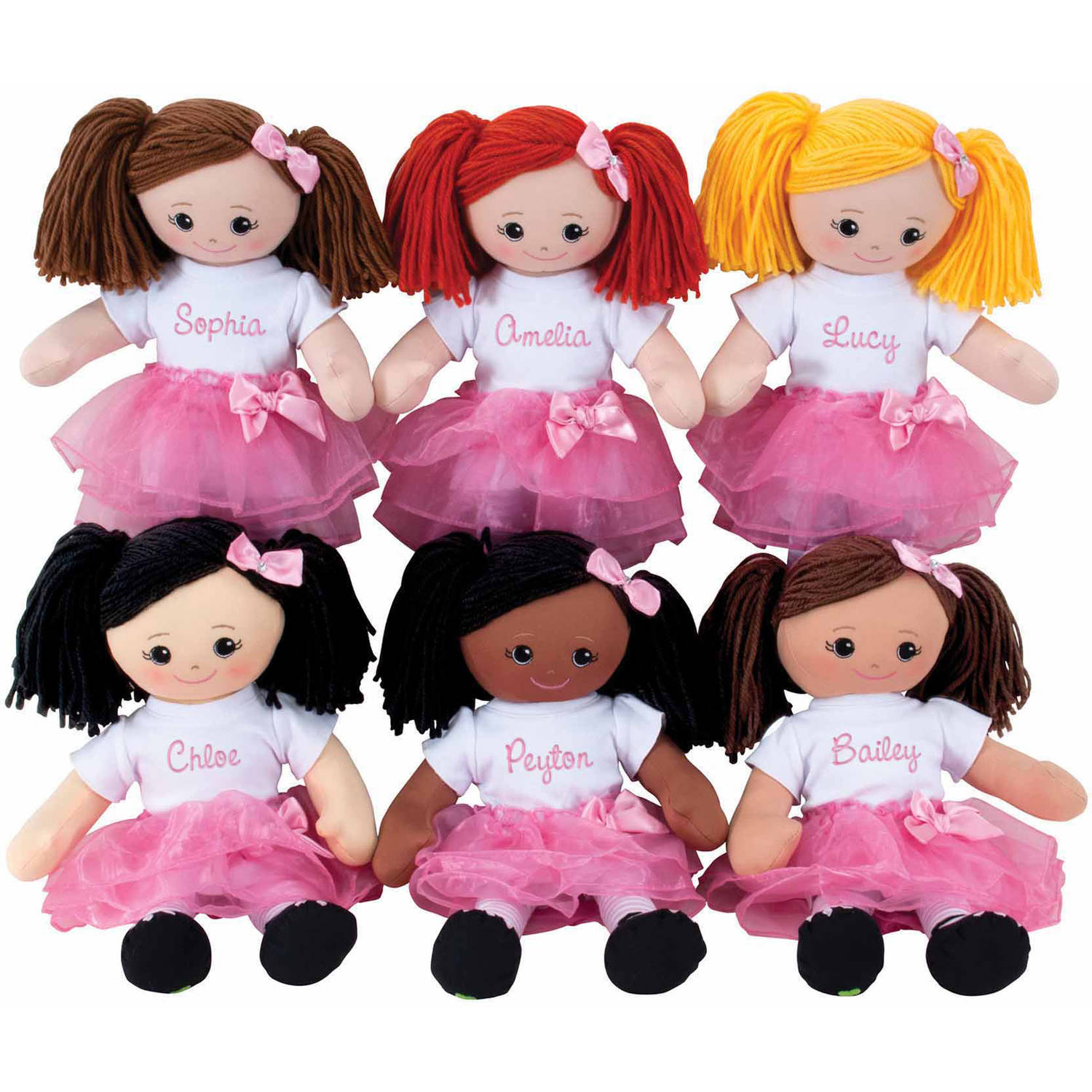 Personalized Girl's Doll With Tutu and Hair Clip