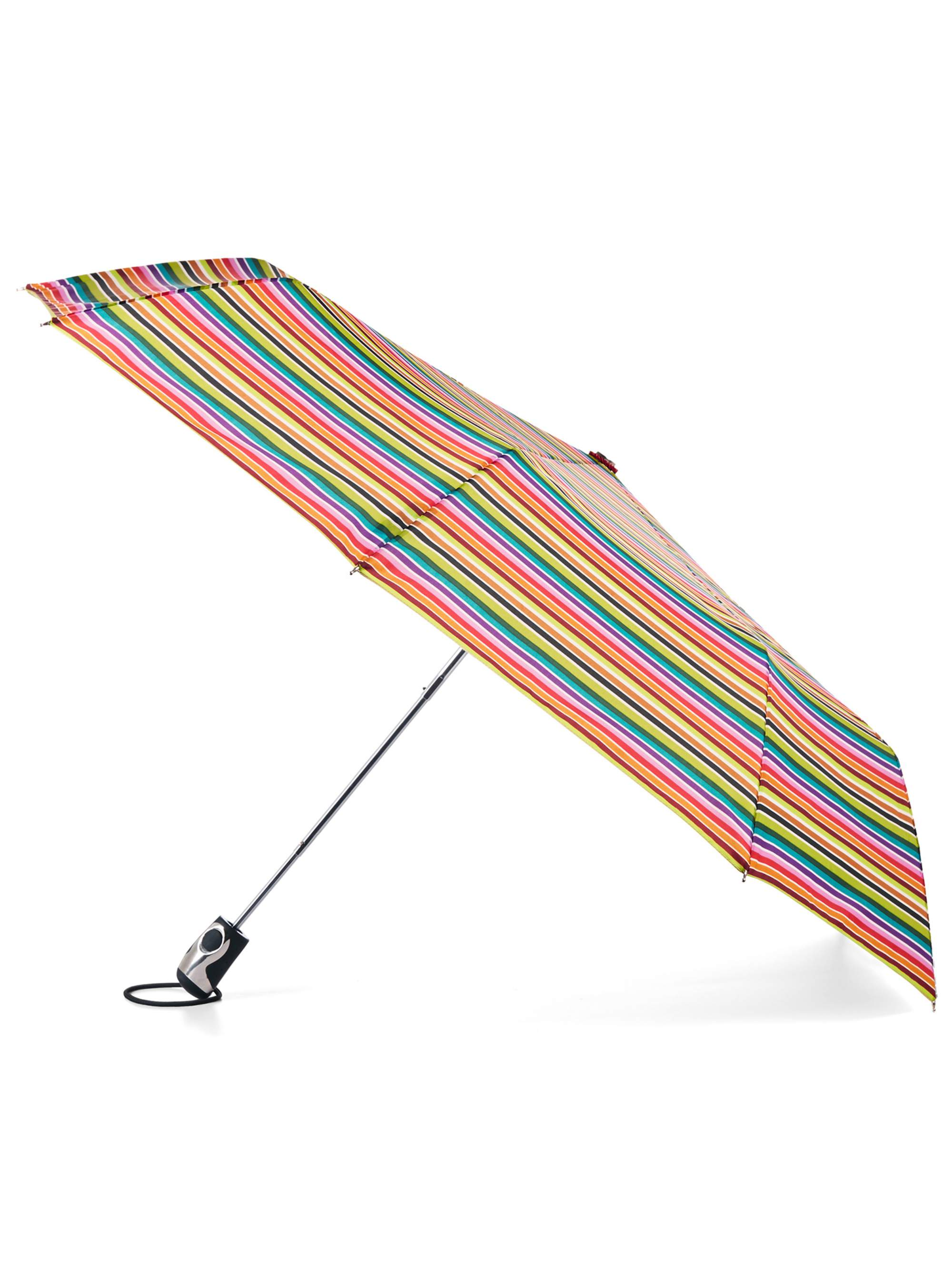 totes 70mph Windproof Titan Auto Open Umbrella, Rainbow Stripe