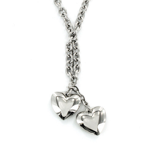 West Coast Jewelry Stainless Steel Dangling Hearts Necklace