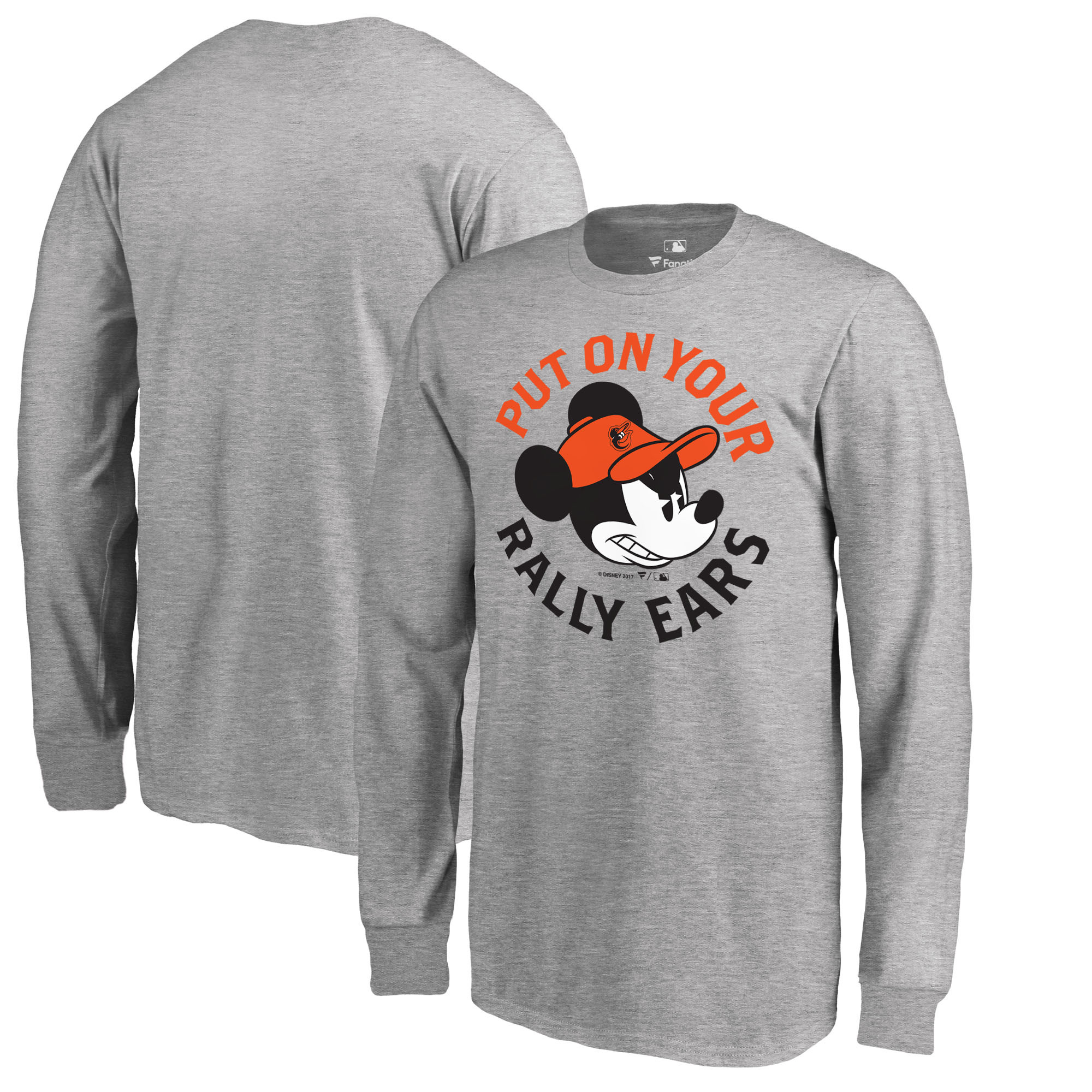 Baltimore Orioles Fanatics Branded Youth Disney Rally Ears Long Sleeve T-Shirt - Heathered Gray
