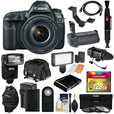Canon Usa Eos 5d (Canon EOS 5D Mark IV 4K Wi-Fi Digital SLR Camera & 24-105mm f/4L IS II USM Lens + 128GB CF Card + Battery & Charger + Grip + Case + Flash + LED Light + Mic Kit)