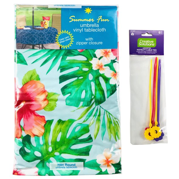 "Elrene Summer Vinyl Tablecloths: Umbrella Hole with Zipper 70"" Round, Tropical Paradise Palms and Flowers"