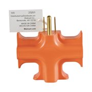 Hyper Tough Heavy Duty 3 Way Grounded Outlet Orange Indoor Use Adapter