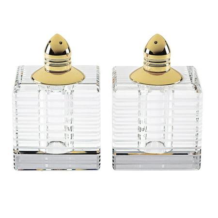(D) Handcrafted 'Pinstripes Gold' Crystal Glass 2-pc Salt & Pepper Shakers Set Crystal Salt And Pepper Set