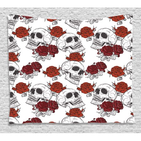 Skull Decorations Tapestry, Retro Gothic Dead Skeleton Figures with Rose Halloween Spooky Trippy Romantic, Wall Hanging for Bedroom Living Room Dorm Decor, 60W X 40L Inches, Grey, by Ambesonne