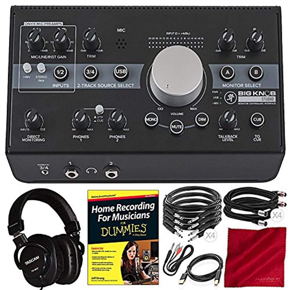 Mackie Big Knob Studio Monitor Controller Interface + Platinum Studio Accessory Bundle with Mixing Headphones, Home Recording for Musicians for Dummies, and More