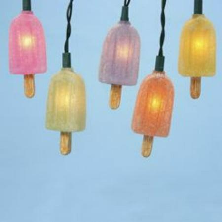Novelty Lighting Mart : Set of 10 Frosted Multi-Color Popsicle Novelty Christmas Lights - Green Wire - Walmart.com