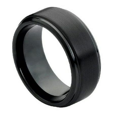 8mm Tungsten Carbide stepped edge Brushed Center Black Enamel Wedding Band Ring For Men Or Ladies (8mm Step Edge Wedding Band)