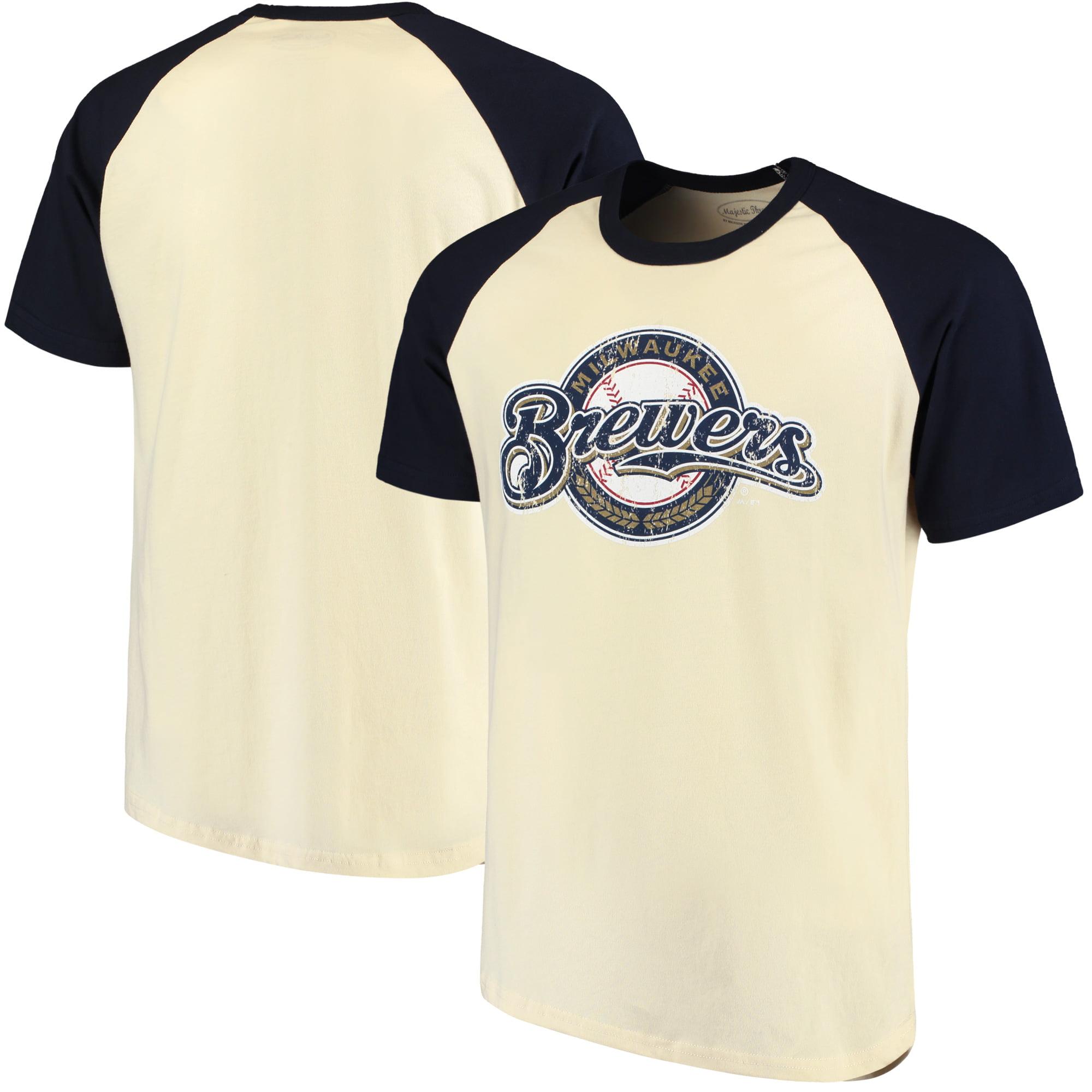 Milwaukee Brewers Majestic Threads Softhand Raglan T-Shirt - Cream/Navy