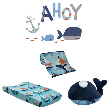 Lambs & Ivy Ahoy 4-Piece Nautical WhaleNursery Decor Set with Baby Blanket](Nautical Baby)