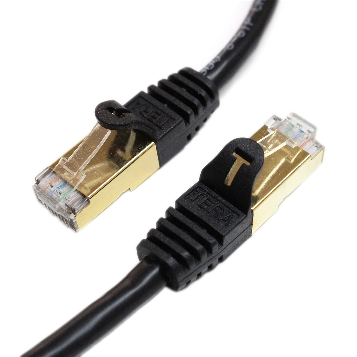 Tera Grand - Premium CAT7 Double Shielded 10 Gigabit 600MHz Ethernet Patch Cable for Modem Router LAN Network - Built with Gold Plated & Shielded RJ45 Connectors, 3 Feet Black