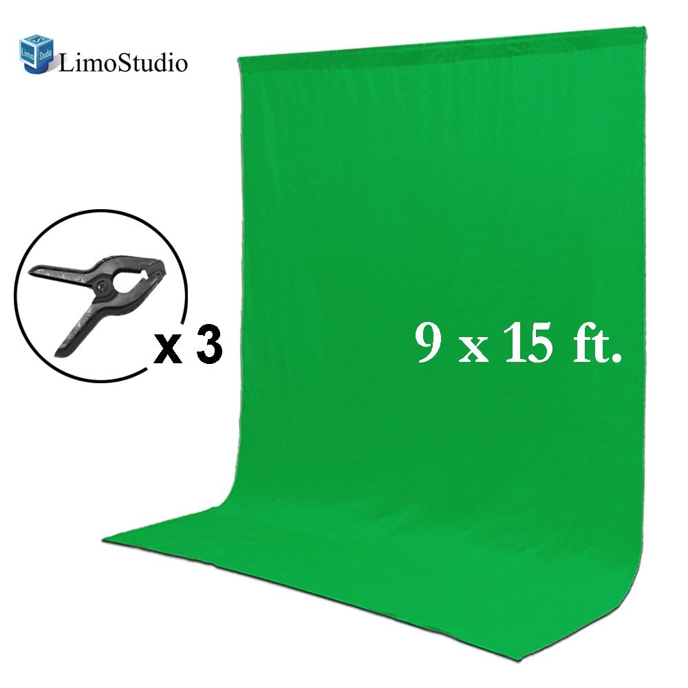 Loadstone Studio 9 x 15 ft. Green Chromakey Muslin Backdrop Background Screen for Photo Video Studio, 3 x Backdrop Clamp, WMLS3644