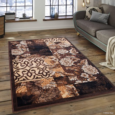 Chocolate Antique Round Rug - Allstar Chocolate Abstract Modern Area Carpet Rug (5' 2