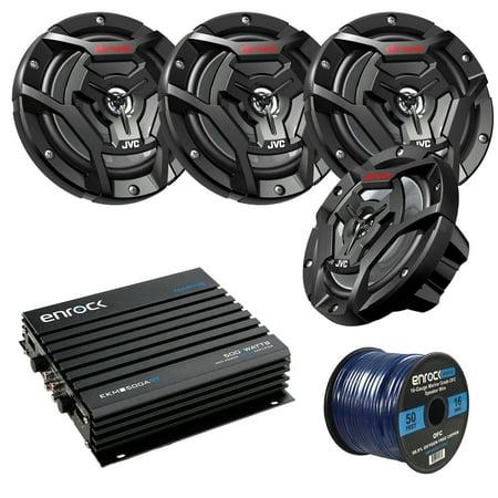 Marine Speaker And Amp Package: 4x JVC CS-DR6200M 100-Watt 6.5