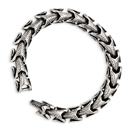 Stainless Steel Antiqued Bracelet 8.5in - image 2 de 2
