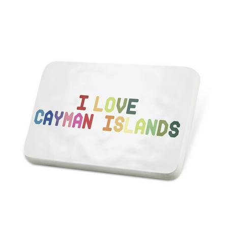 Porcelein Pin I Love Cayman Islands ,Colorful Lapel Badge – (Love Cayman Islands)