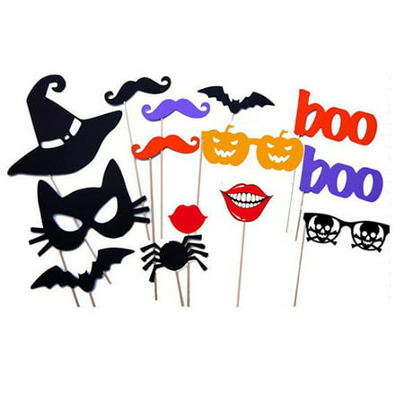 Game Booth Ideas For Halloween (14pcs Novelty Halloween Photo Booth Props On A Stick Mask Mustache Hat for Wedding Birthday Christmas Party)