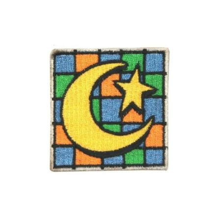 Printable Halloween Bag Tags (ID 0843A Moon and Star Badge Patch Halloween Bag Tag Embroidered IronOn)