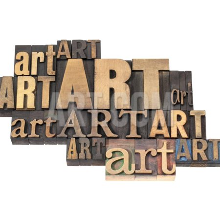 Art Word Abstract - Isolated Text in a Variety of Vintage Letterpress Wood Type Printing Blocks Print Wall Art By